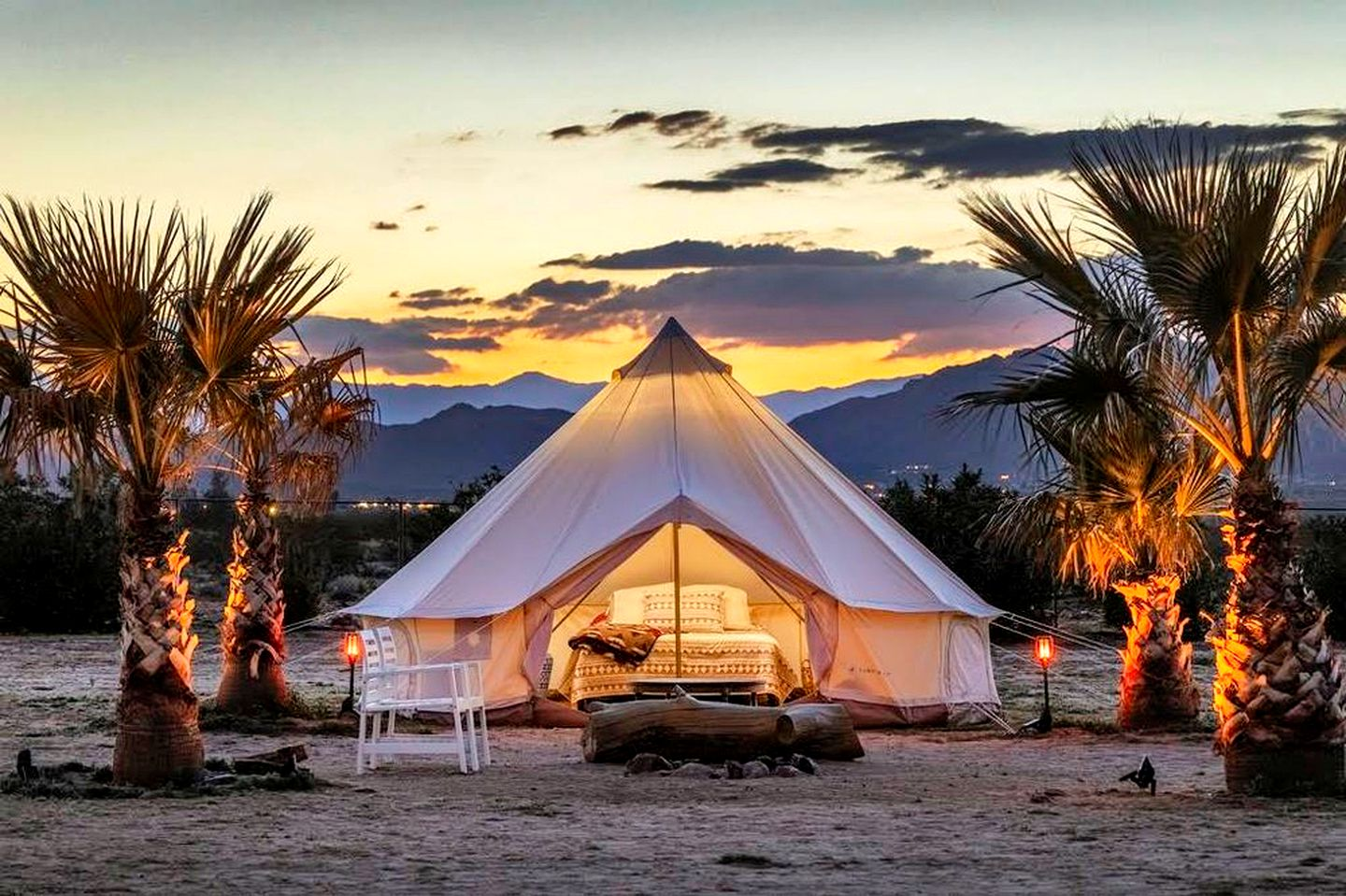 This Joshua Tree accommodation is ideal for glamping in California. Luxury yurt camping, California. Perfect for glamping in California