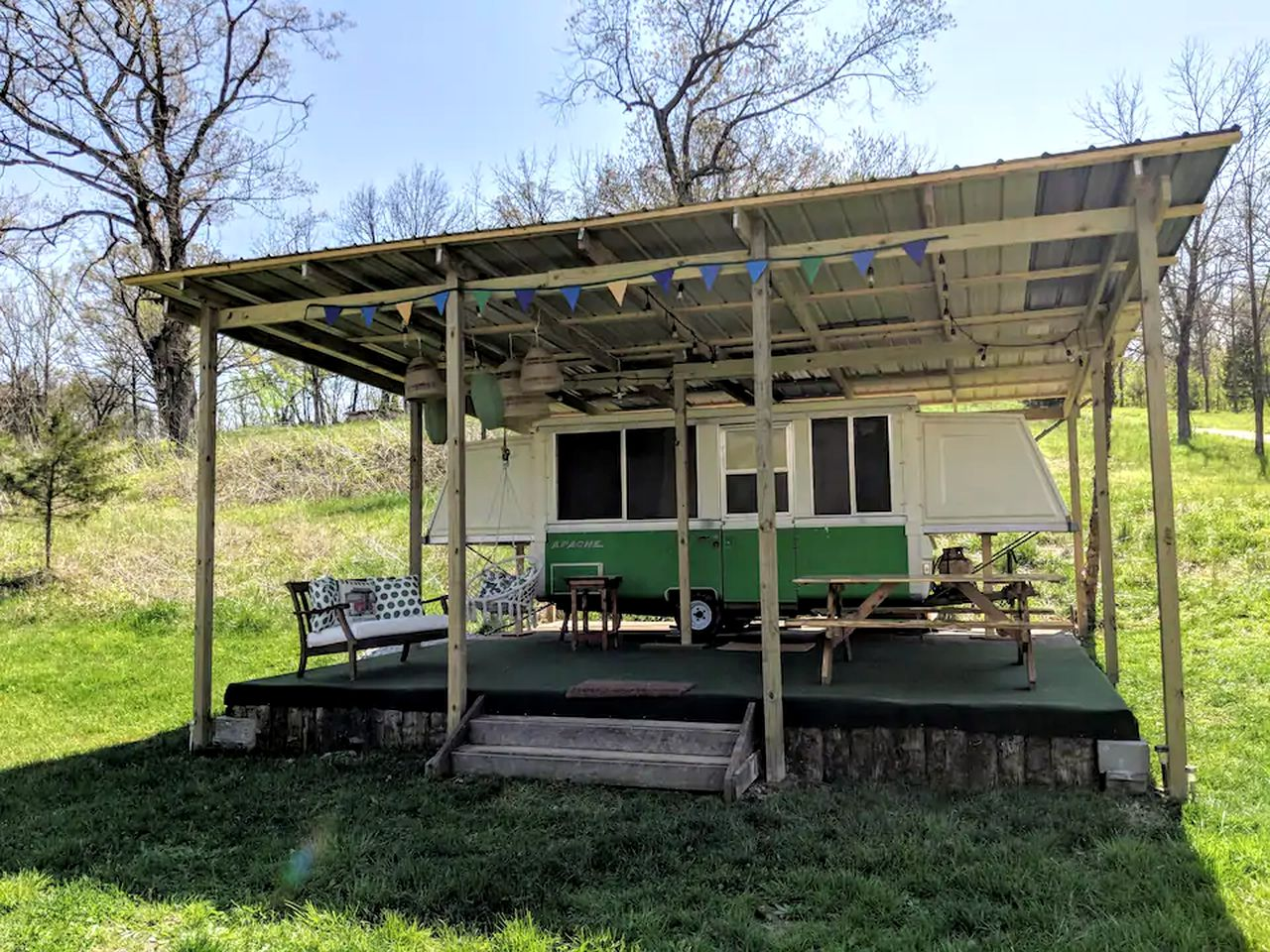 Go glamping in Missouri in this camper rental!