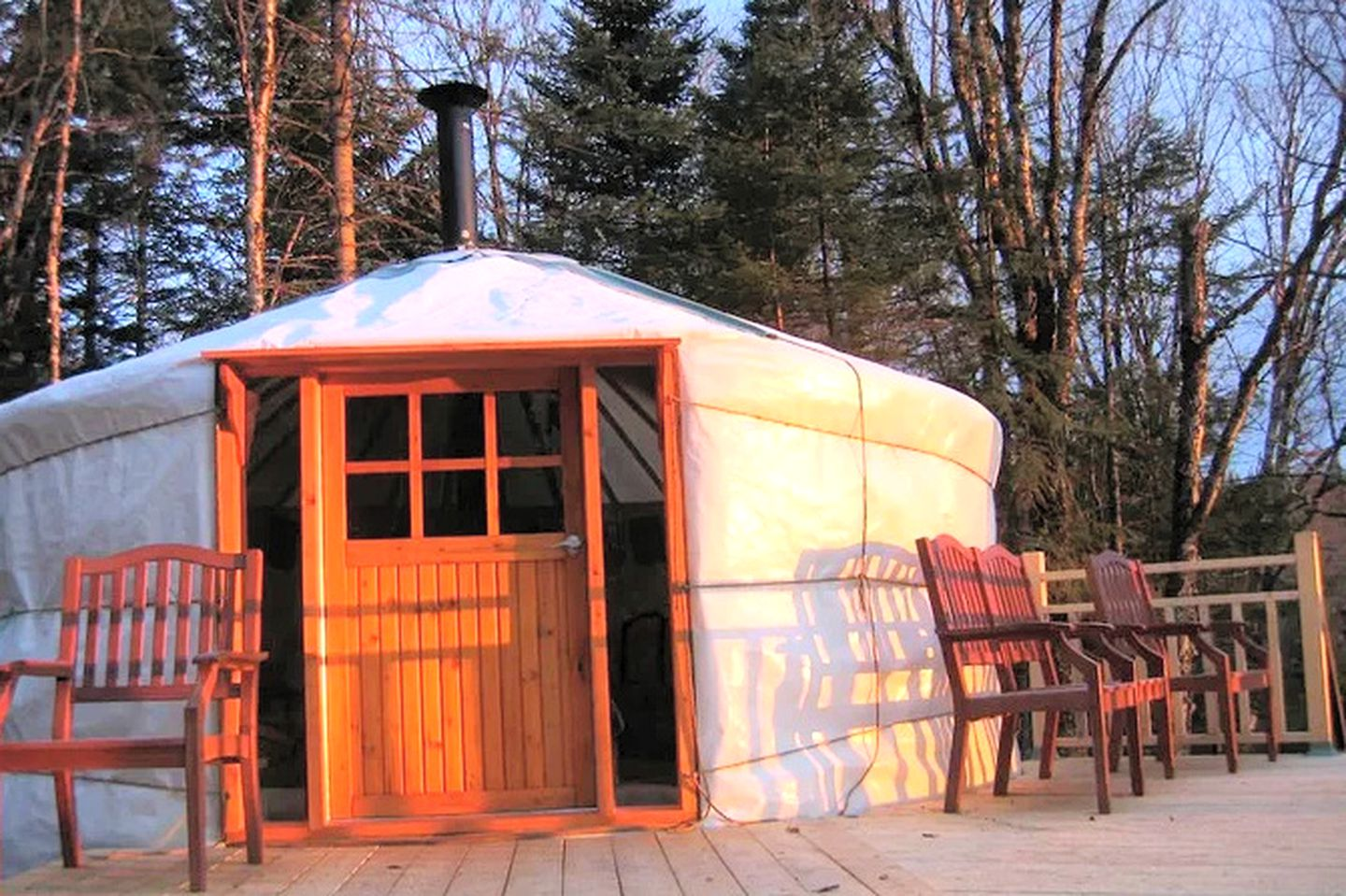 The Quebec yurt rental to go glamping in Canada. Mountain getaways are easy at this accommodation near Quebec City