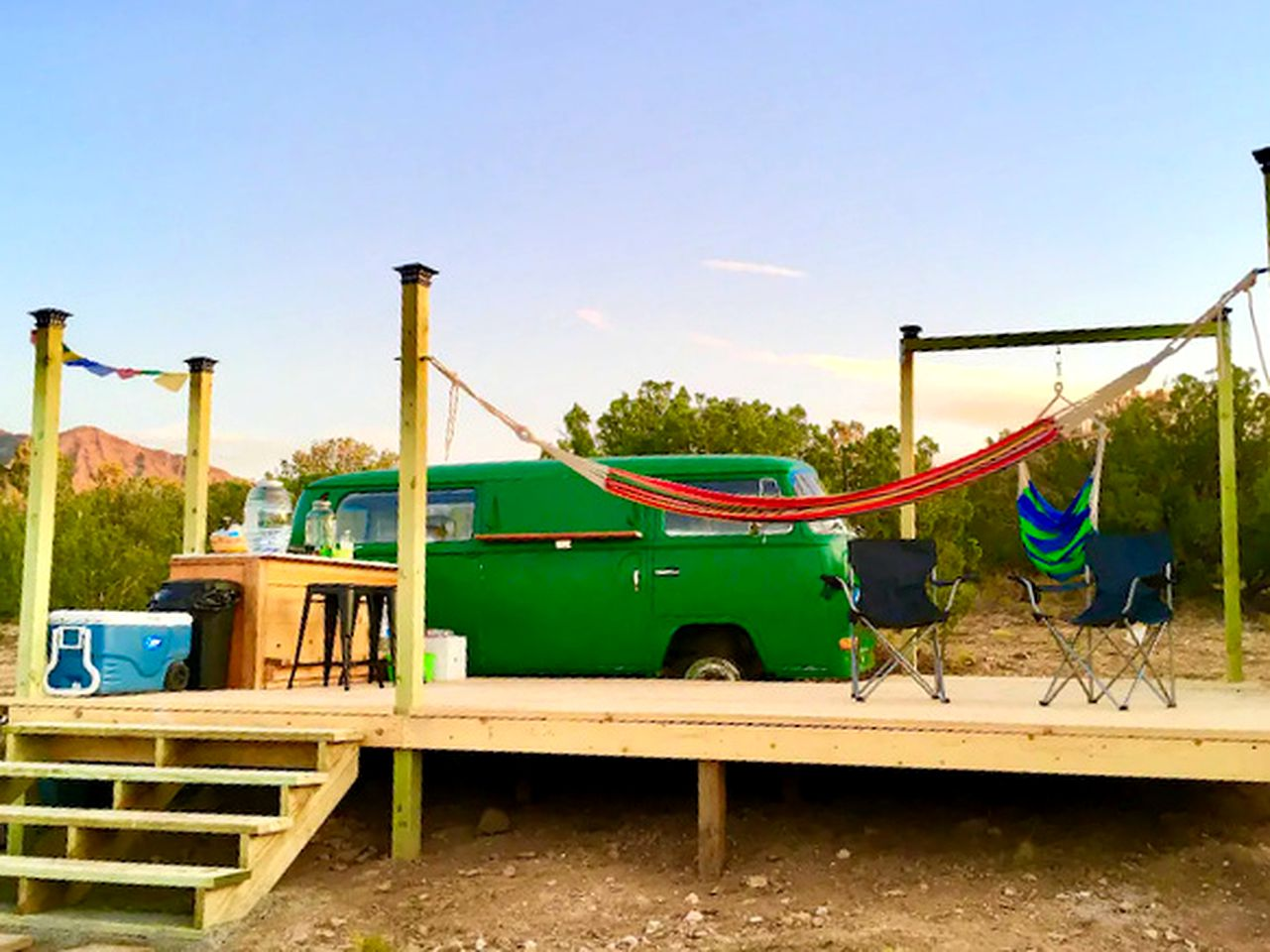 Vintage campervan rental for a couple of guests to go glamping in New Mexico