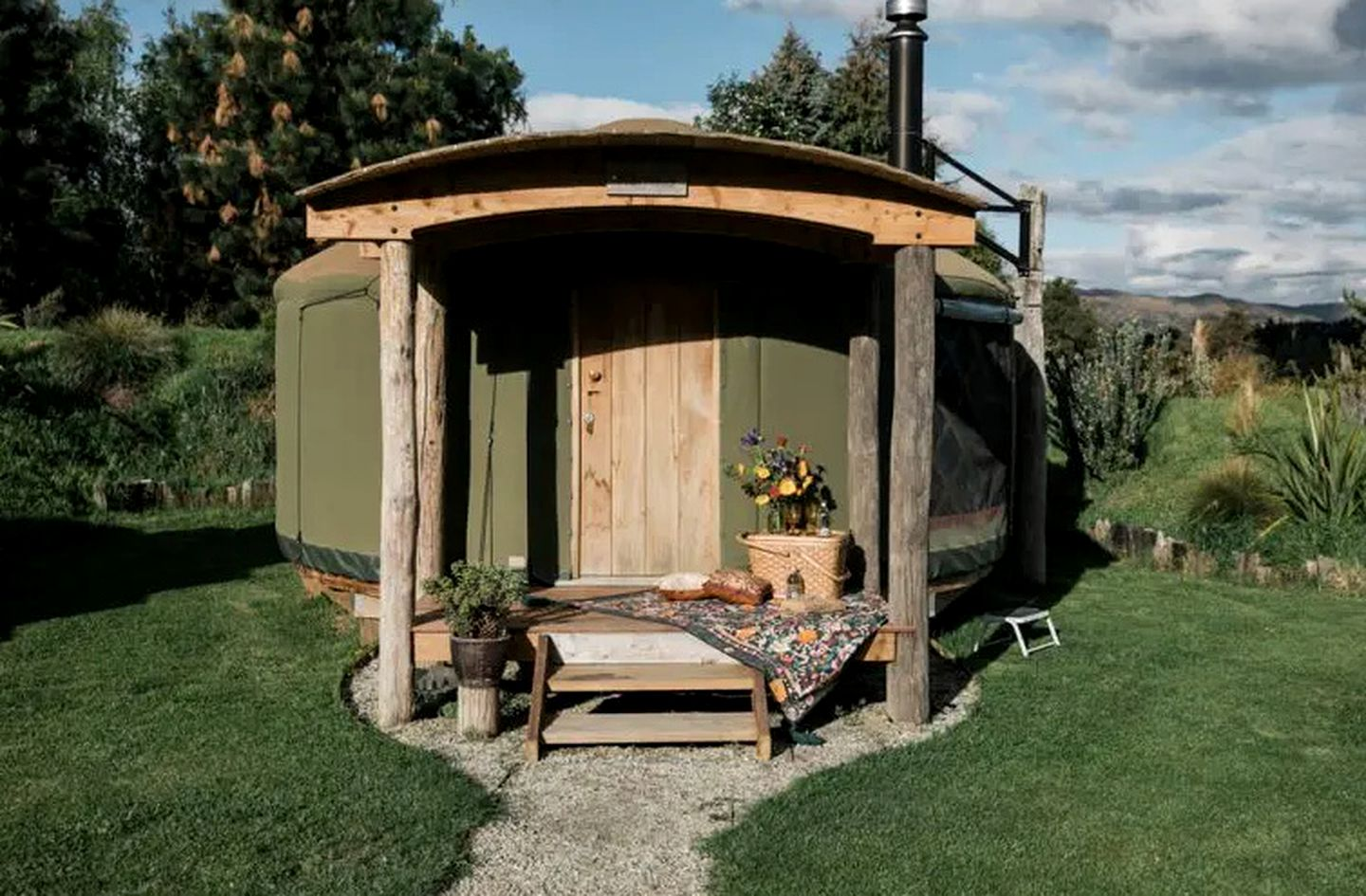 This yurt rental is ideal for glamping in New Zealand