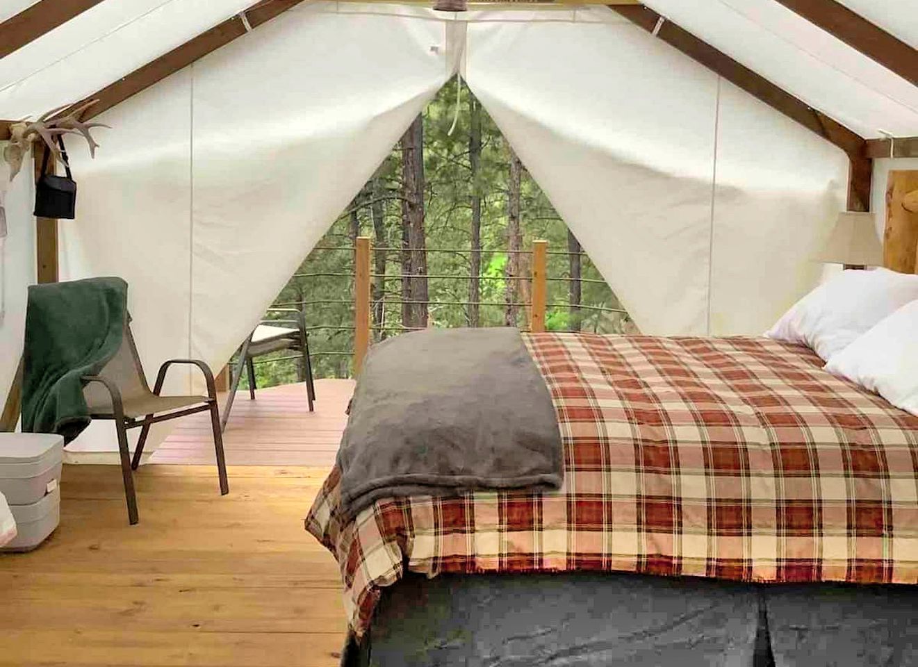 This safari tent rental is ideal for luxury camping near Mount Rushmore, South Dakota