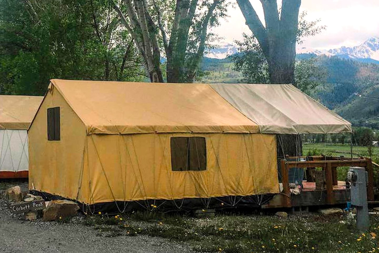 Cozy safari tent rental for two guests to go glamping in Colorado
