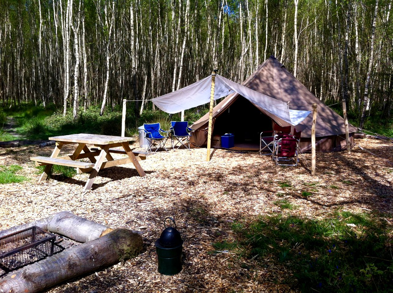 Glamping Sussex: luxury bell tent rentals in woodland campsite