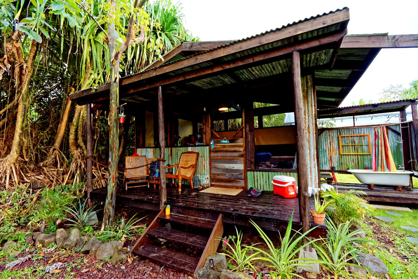 Wet wood in beautiful vacation rental in Pahoa, Hawaii! Package vacations will be a thing of the past