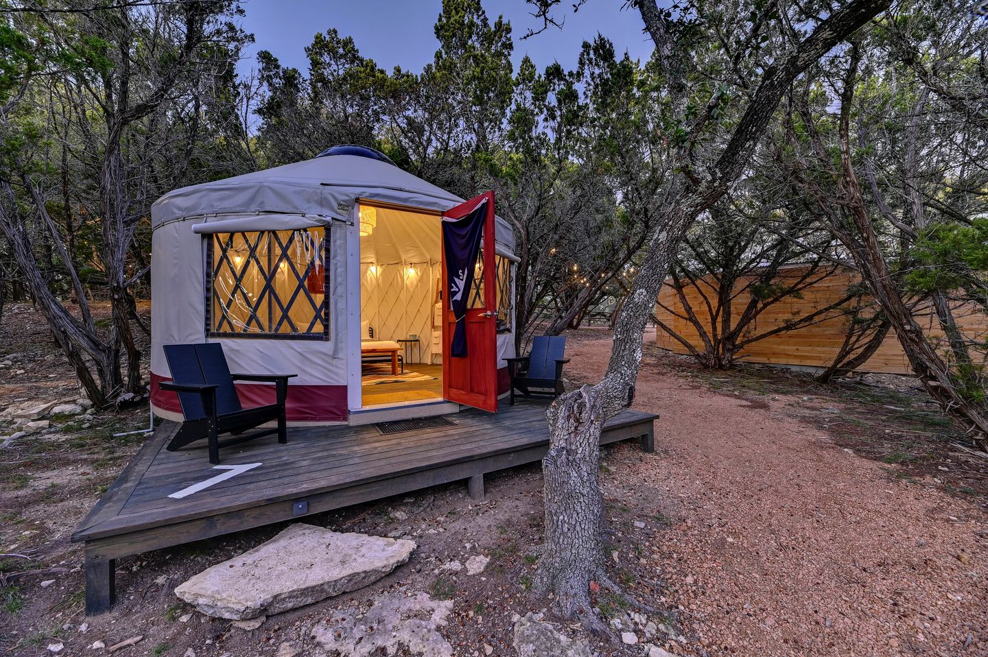 This cozy two-person yurt in Texas Hill Country is perfect to go glamping near Austin