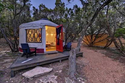 Yurt In Texas Glamping Near Austin Contemporary yurts are popping up everywhere — from los angeles to zion national park — as airy homes, backcountry destinations or even weekend glamping getaways. cozy yurt in texas hill country for glamping near austin