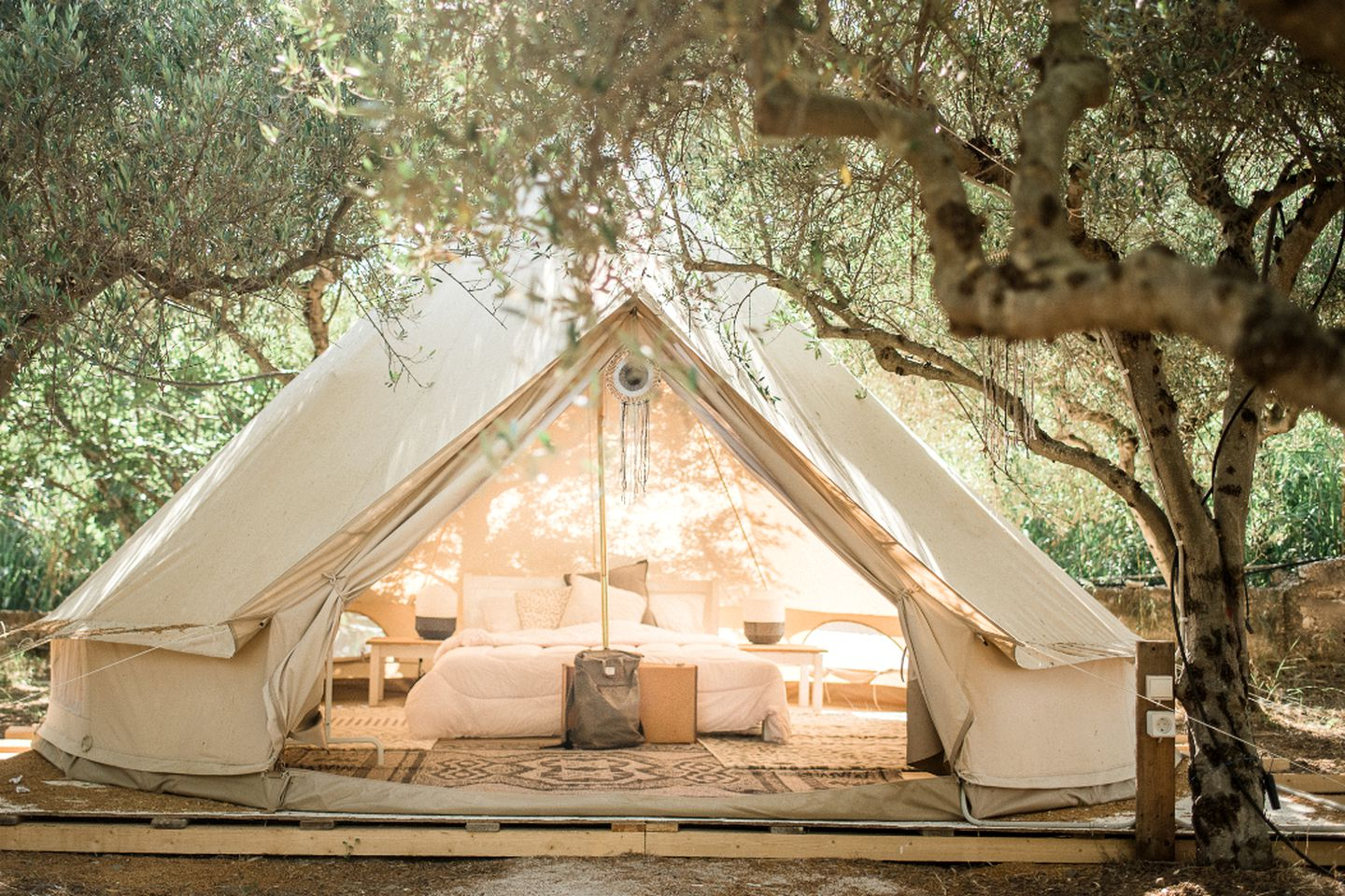 Lovely bell tent rental perfect for glamping in Greece