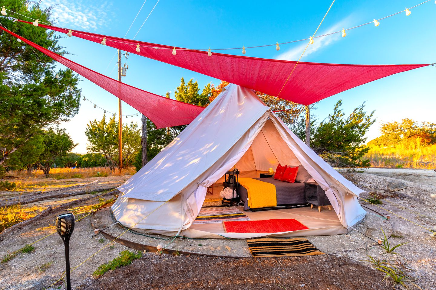 Johnson City luxury bell tent for the best Texas Hill Country glamping!