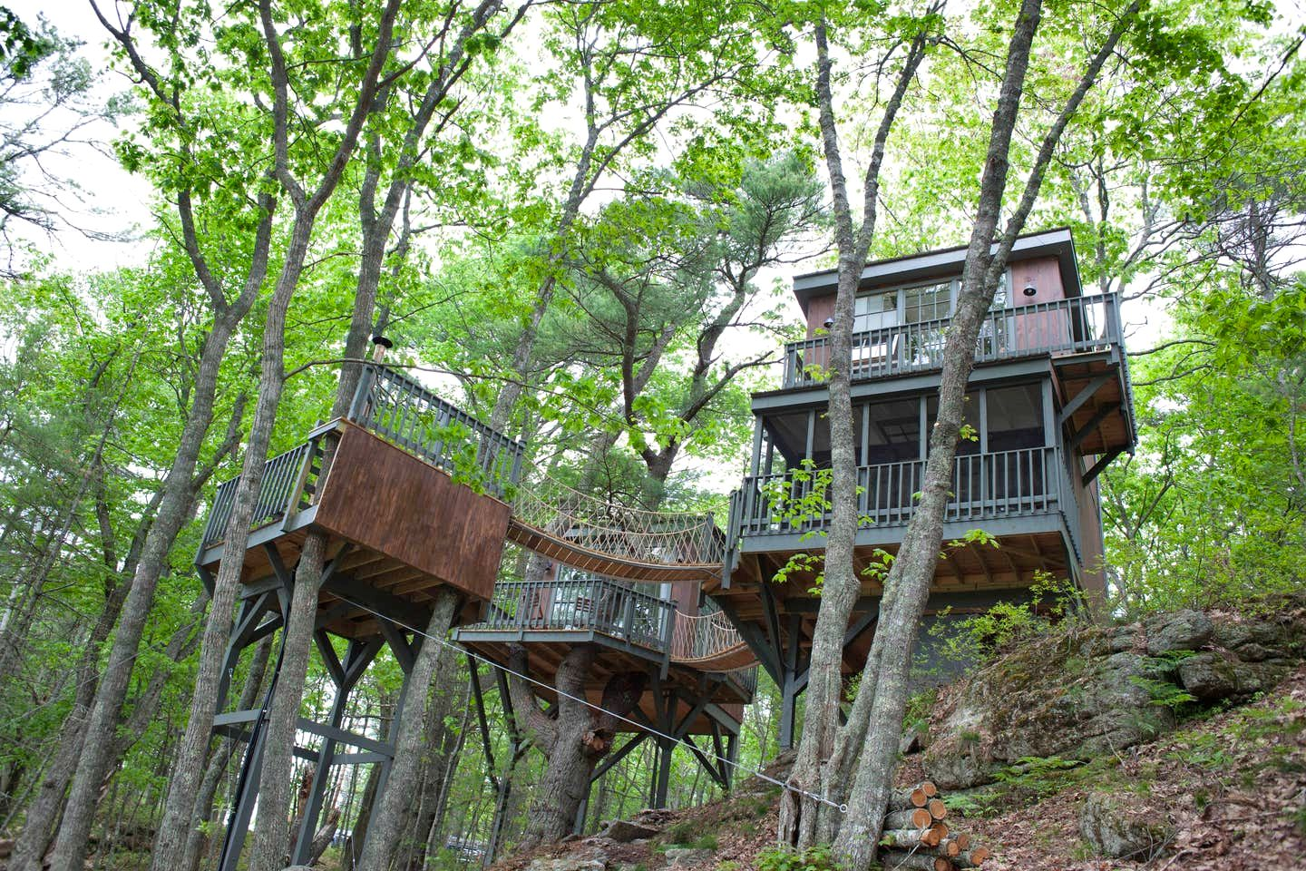 Treehouse village in Georgetown, Maine.