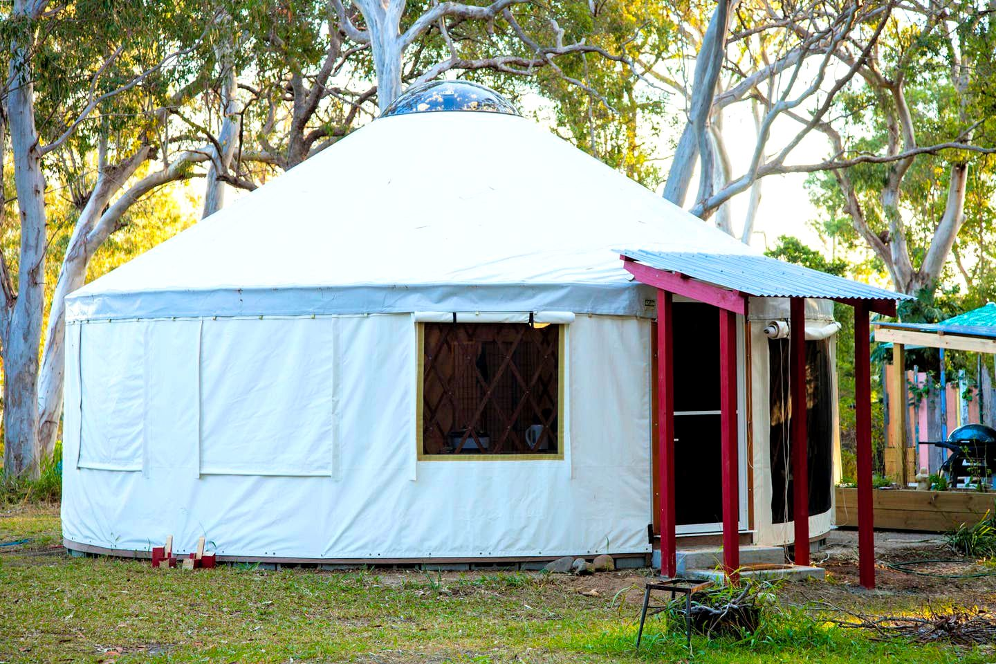 This authentic yurt rental is located on a gorgeous spiritual retreat, perfect for glamping in NSW!