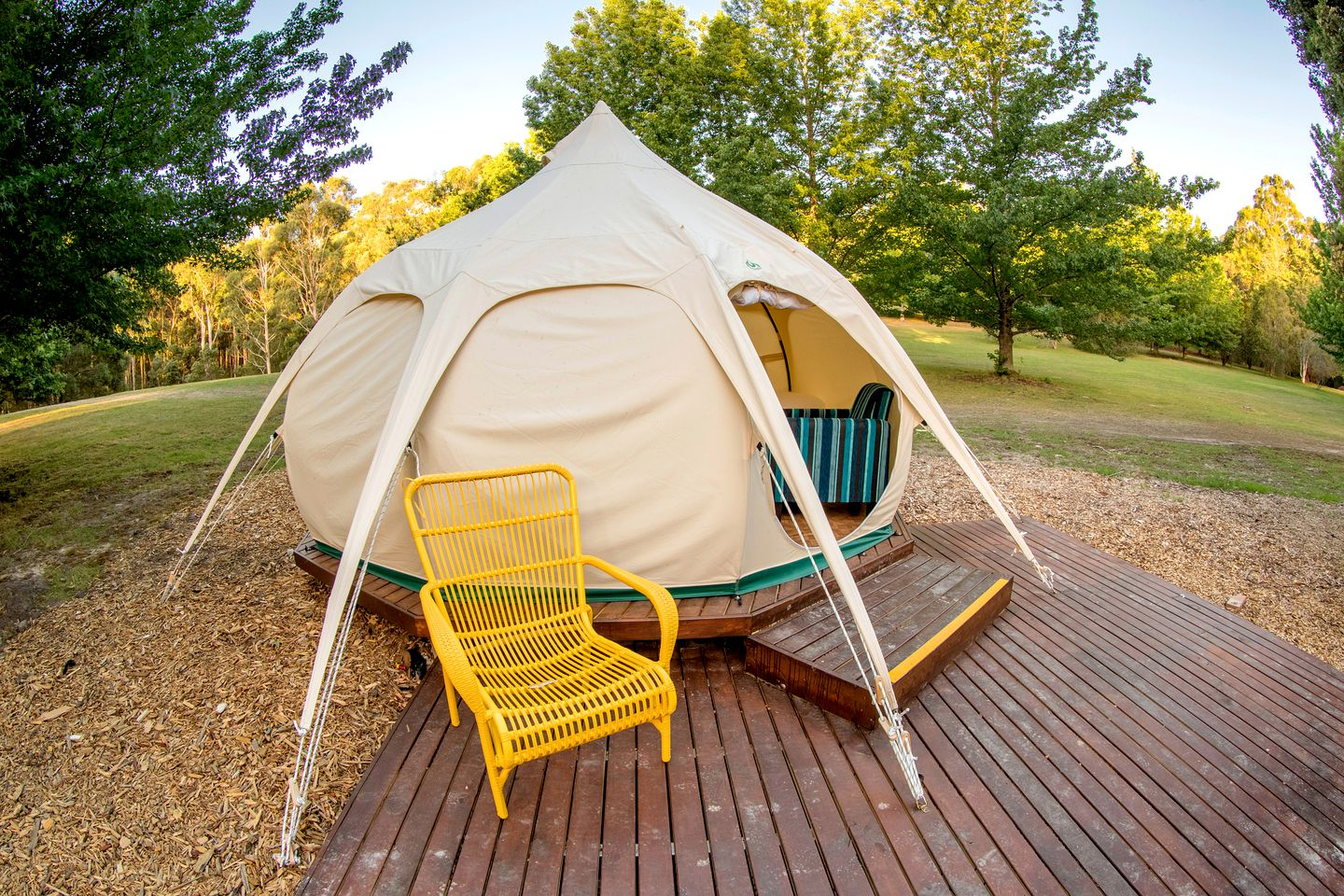 Yarra Valley bell tent for hire with private deck in Healesville, Victoria.