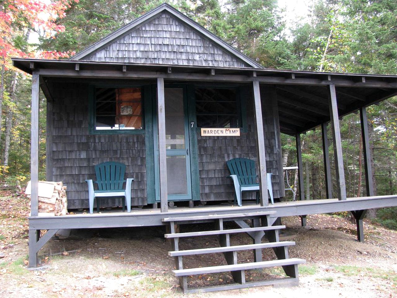 Cabin rental with deck in West Forks, Maine.