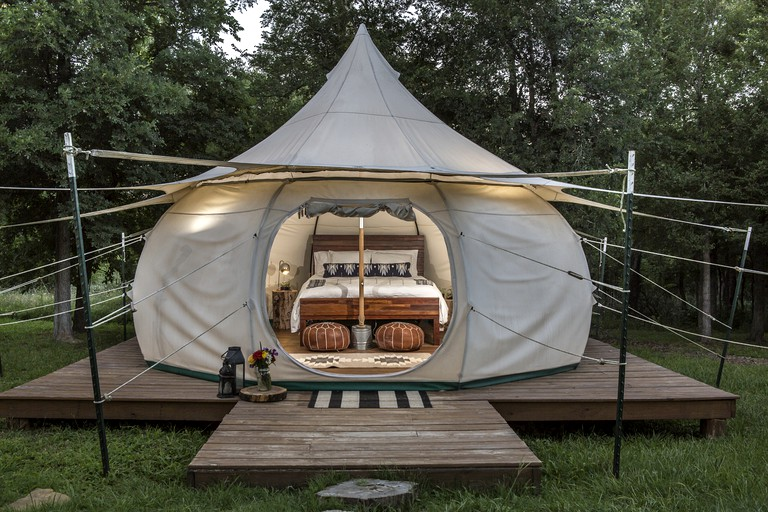 Charming Couples' Bell Tent Rental with Air Conditioning in Texas Hill  Country