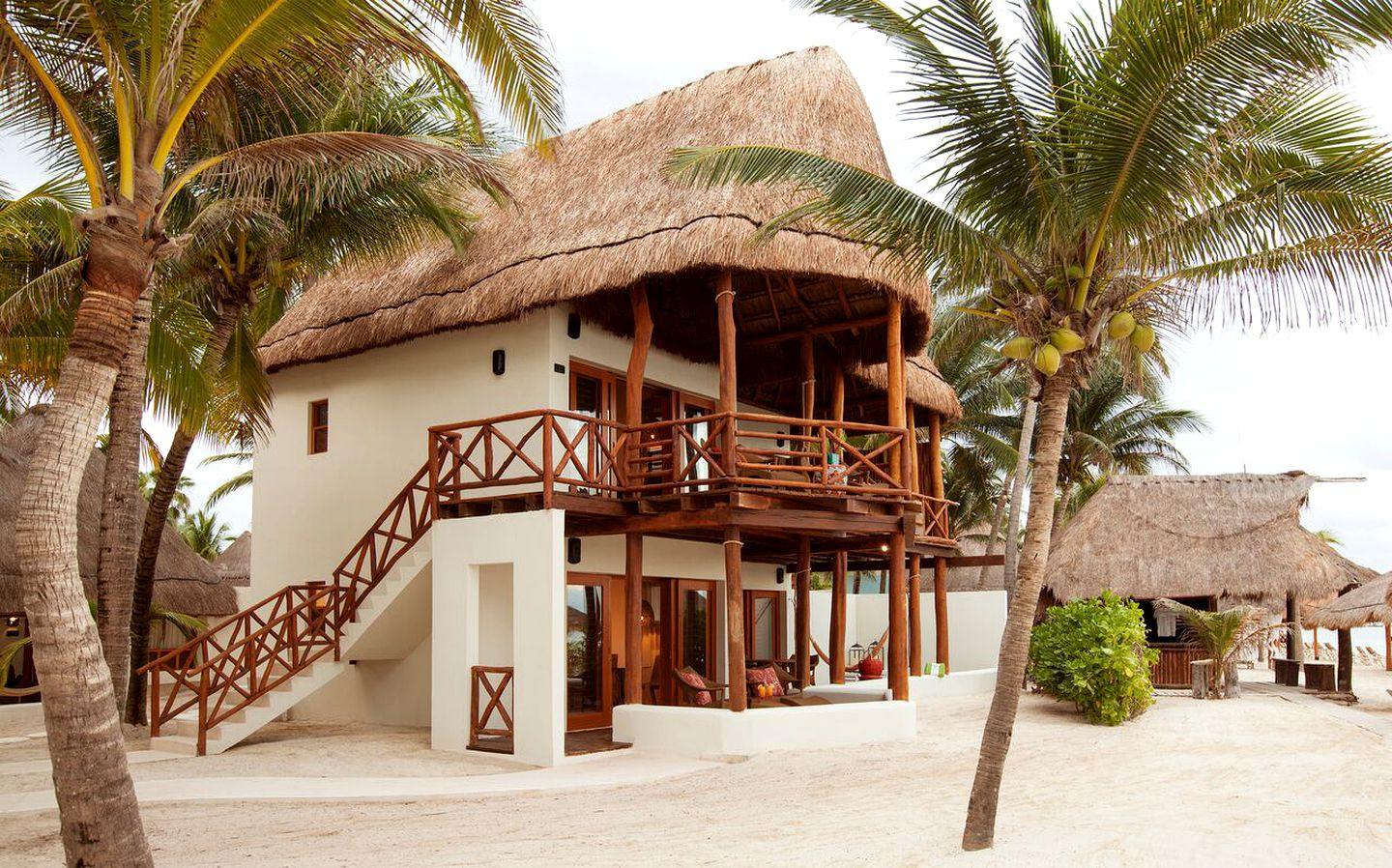 exterior of one of the best bungalows in Playa del Carmen for glamping Mexico