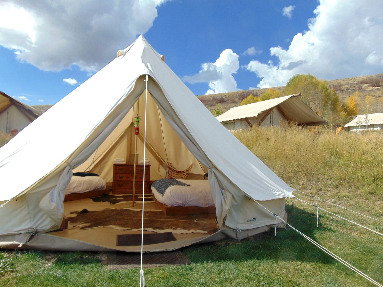 Utah camping site on Bear Lake with bell tents for rent.