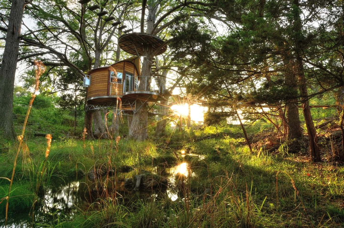 Tree house rental in the woods next to a creek at sunset in Austin, Texas.