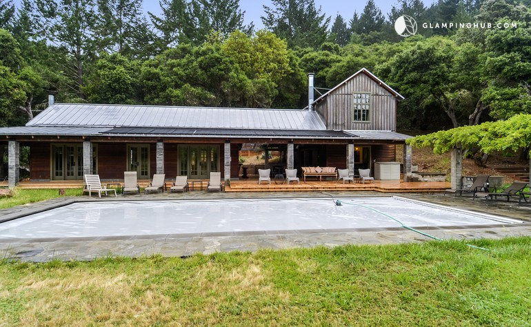 luxury cabin rental with pool for groups near santa rosa, california