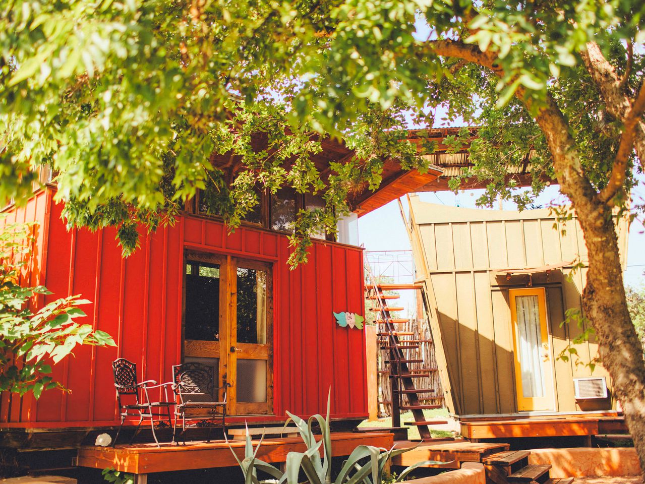 A red cabin rental in Texas Hill Country.