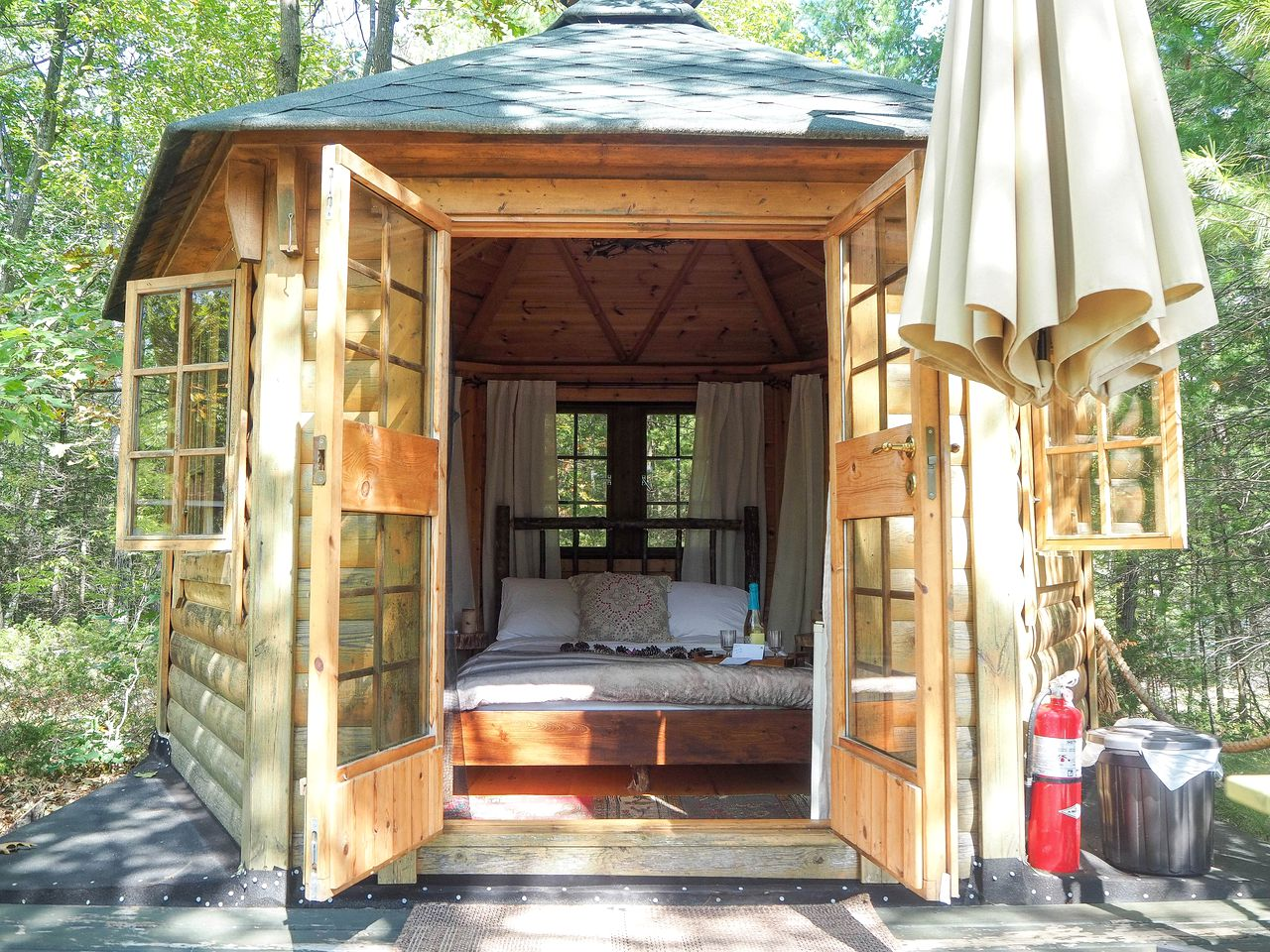 Glamping cabin rental on Kasshabog Lake in Ontario