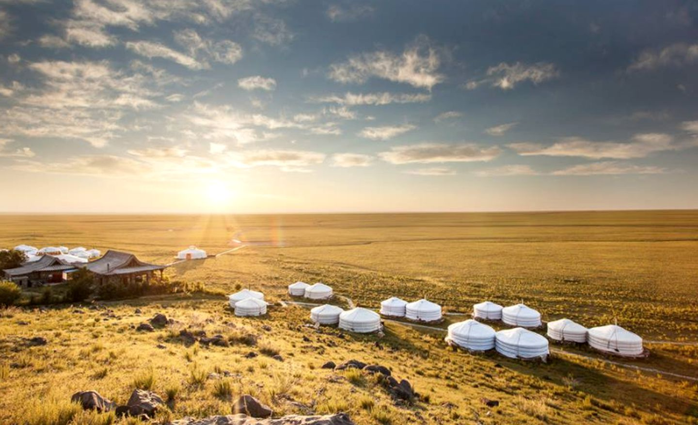 Authentic Mongolian tents in the Gobi Desert.