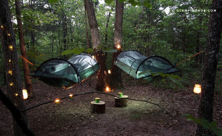 & Hanging Tree Tent Rentals in 16-Acre Forest Park Hills Missouri