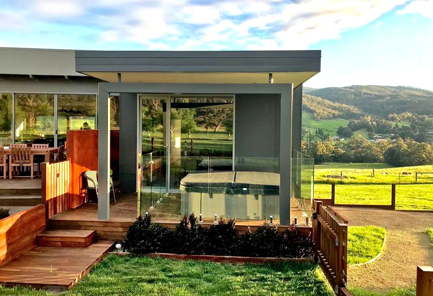 This farm stay accommodation near Hobart is the perfect romantic getaway in Tasmania and comes with a private hot tub and amazing views of the valley!