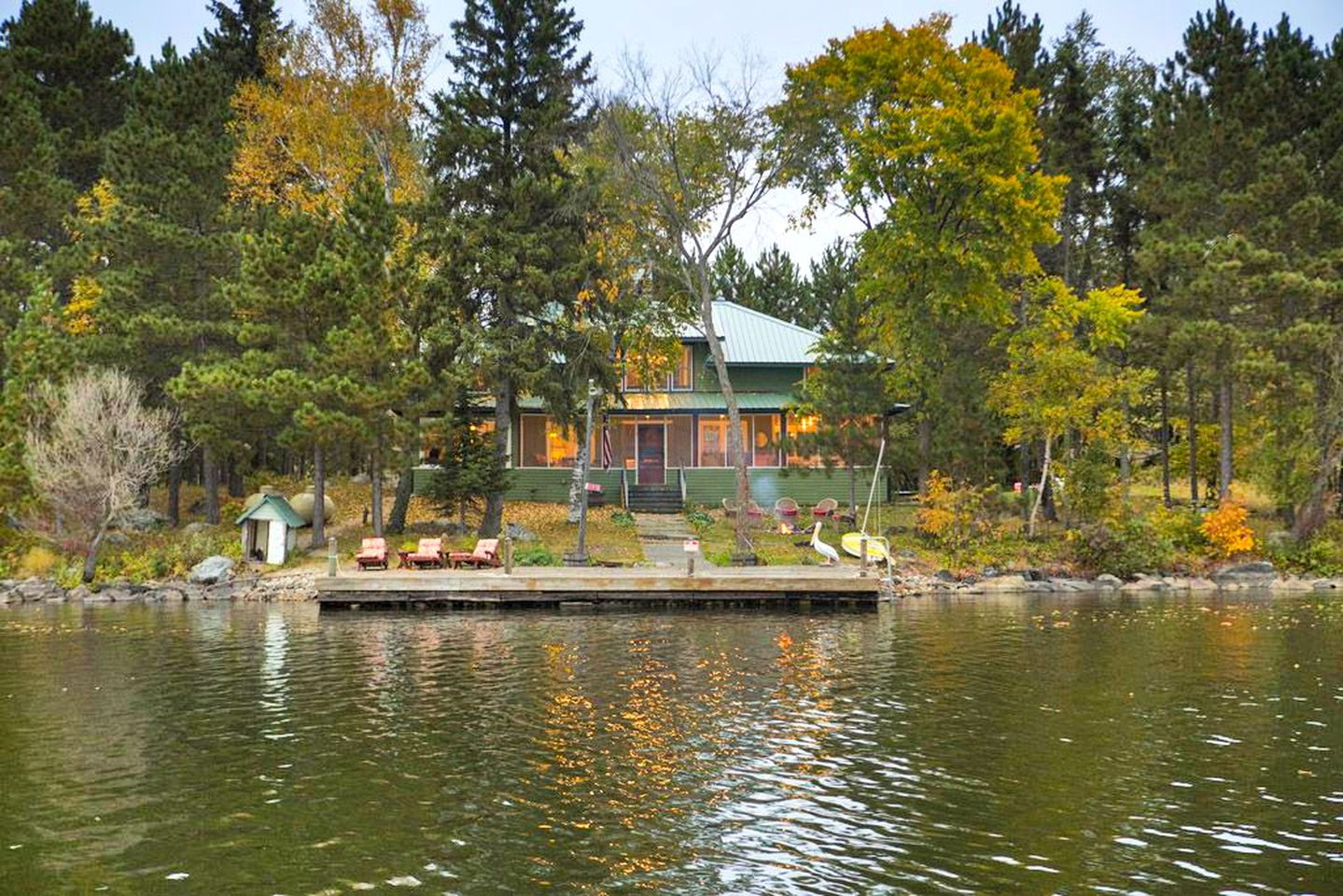 View from the water of a cabin rental on a private island in Minnesota.
