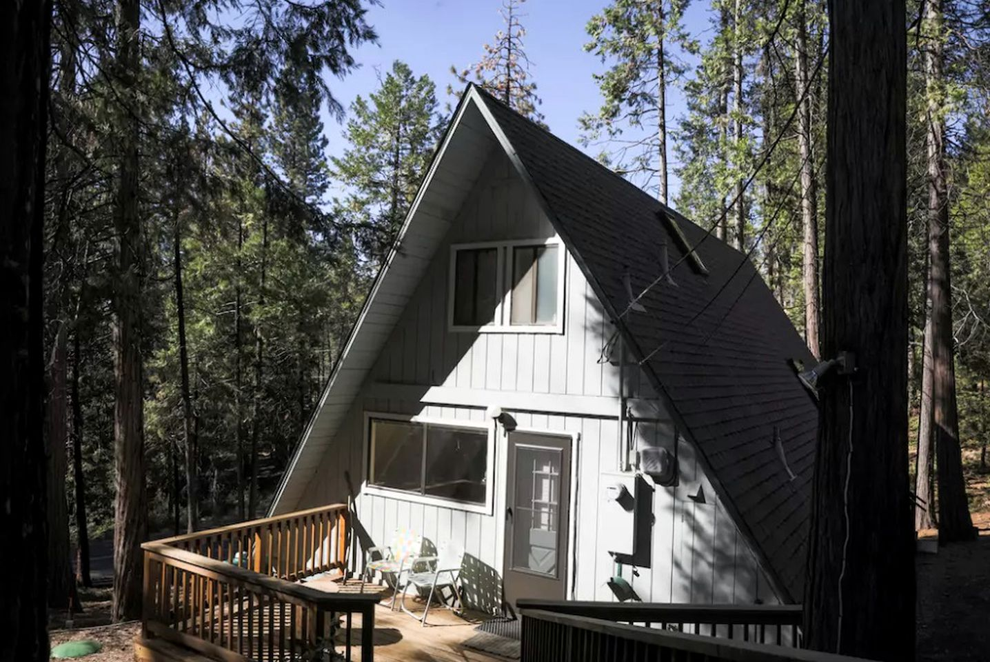 A-frame cabin rental among trees in Northern California