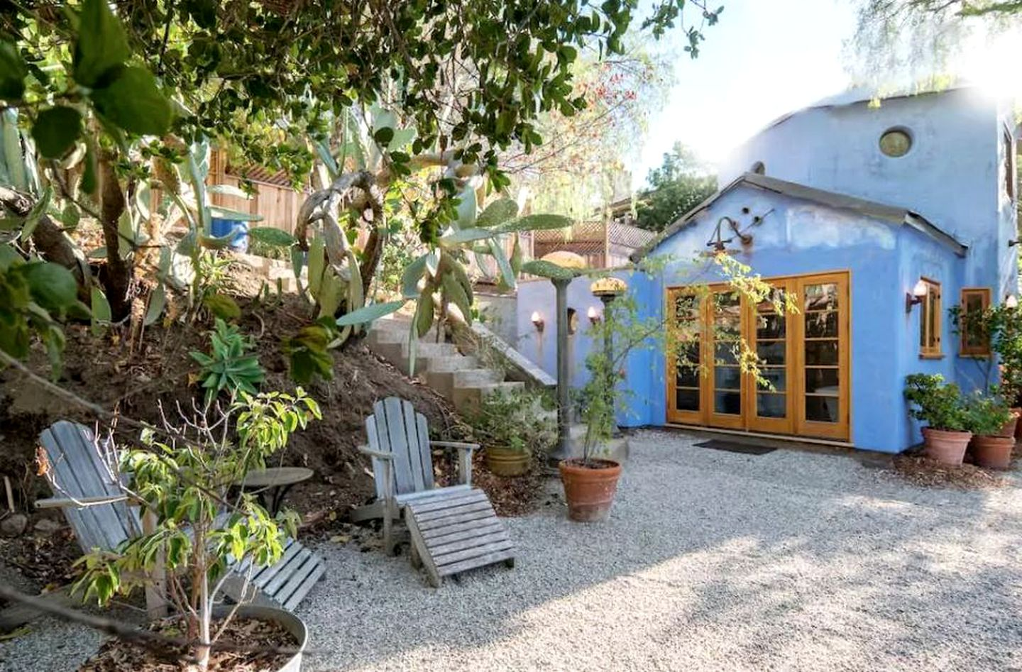 Back of private blue cottage with nice wooden back doors, back garden equipped with deck chairs and large plants.