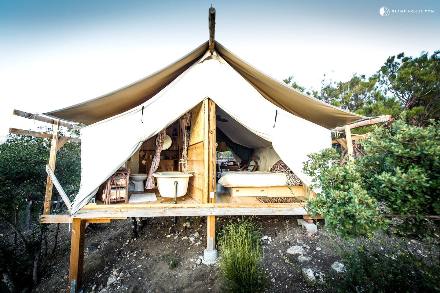 Safari tent camping in california glamping in california for Tent cottage
