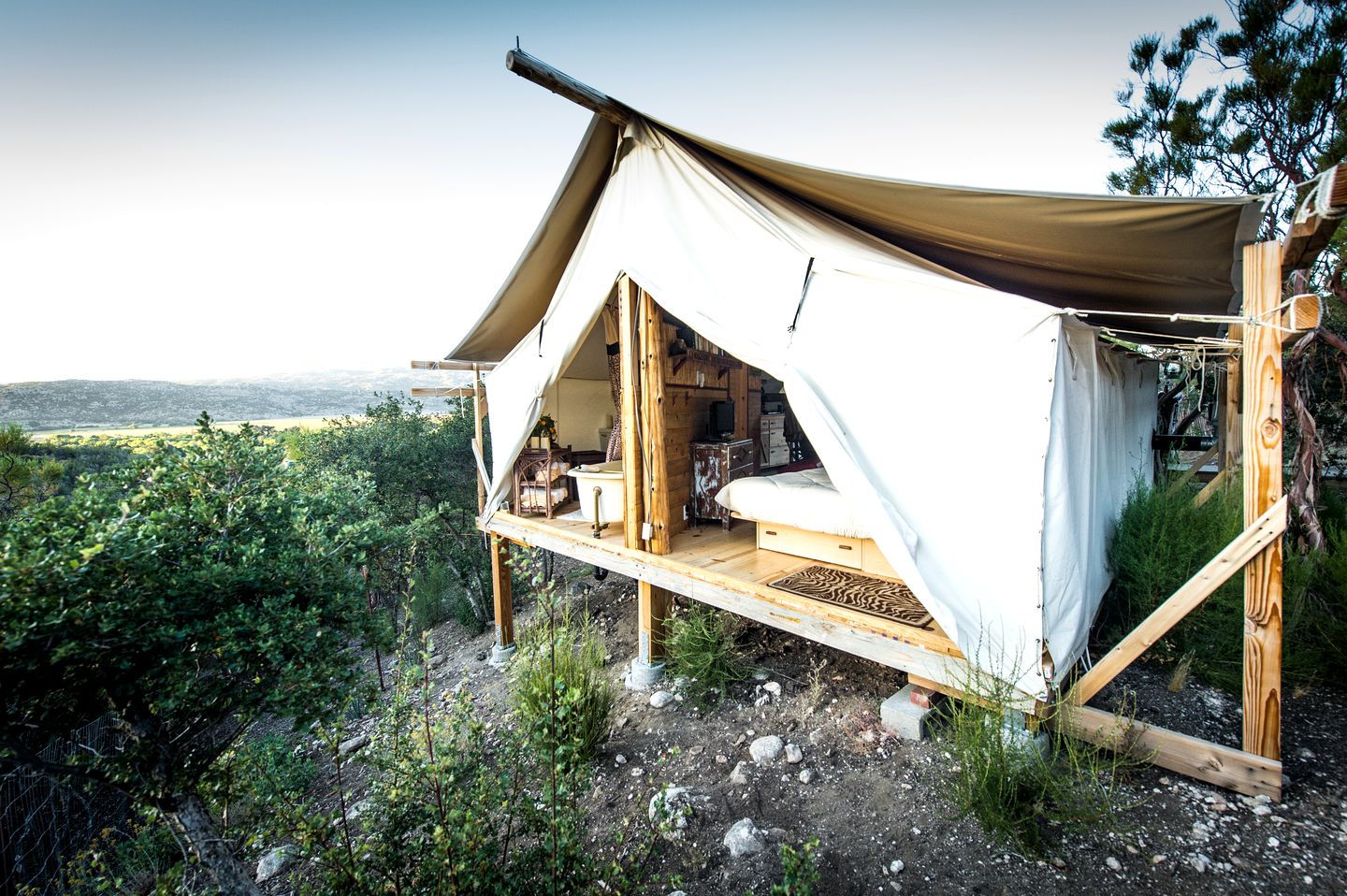 Safari cabin tent for weekend getaway in California.