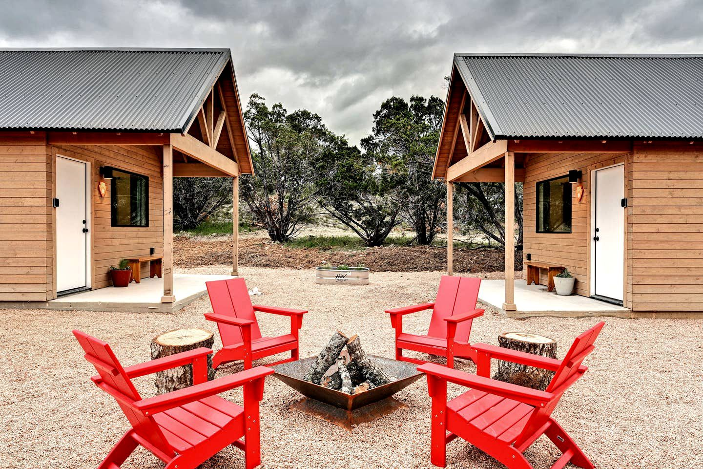 These Texas Hill Country cabins are simply gorgeous and boast a fire pit, perfect for romantic getaways near Austin!