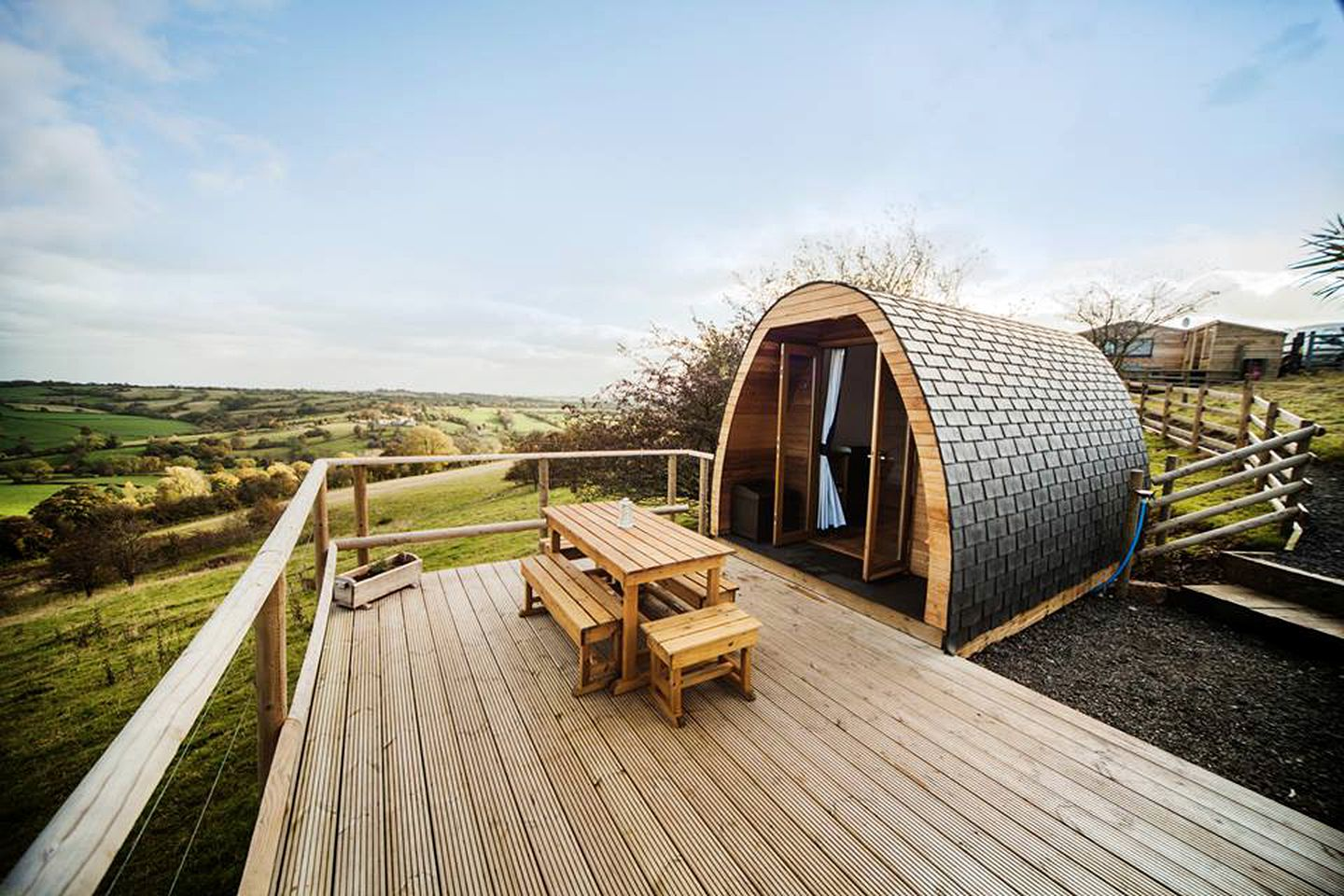 Glamping Derbyshire pods on a sustainable farm in the UK.