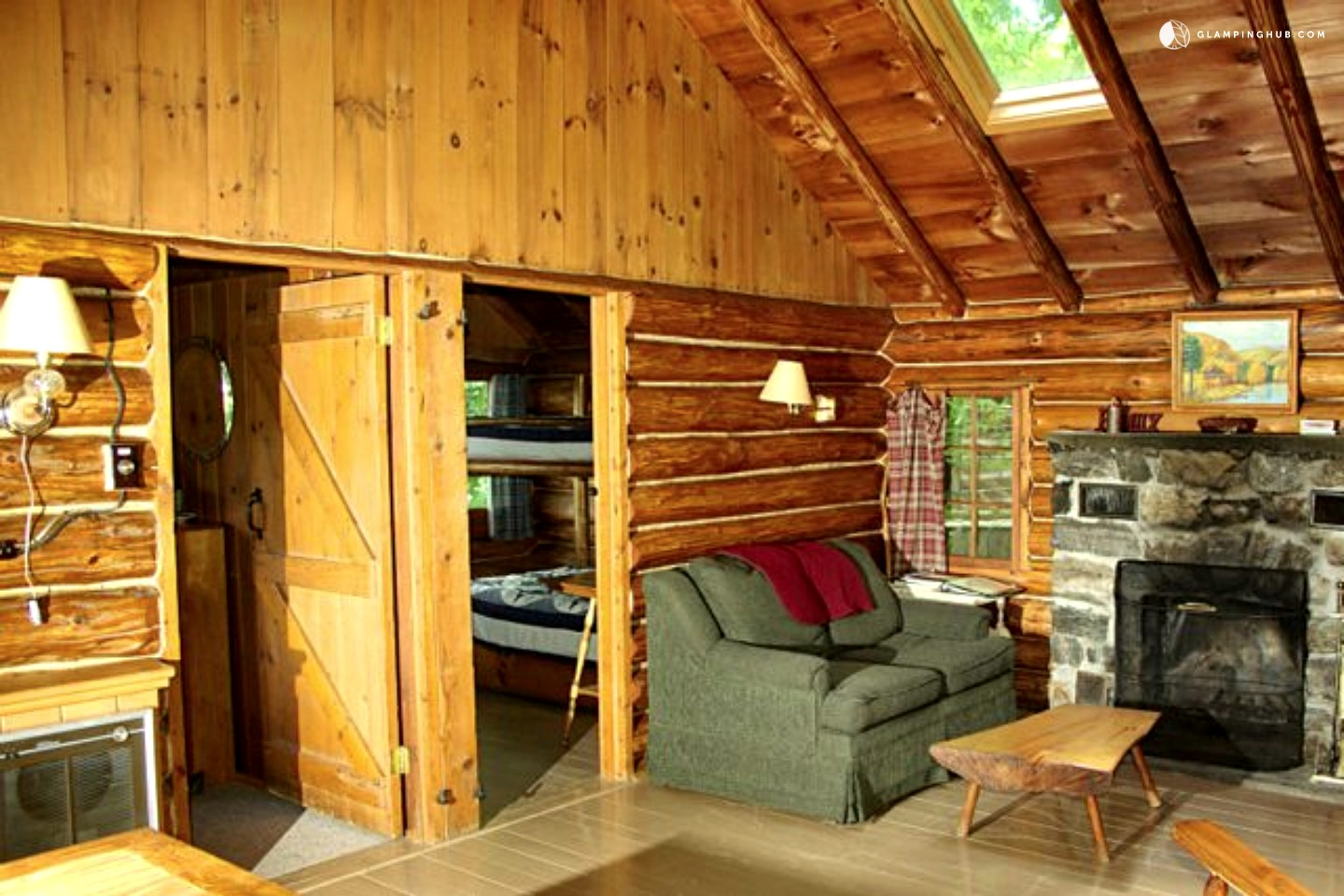 Log Cabin Rental Near Albany. Full resolution  portrait, nominally Width 1440 Height 960 pixels, portrait with #C28209.