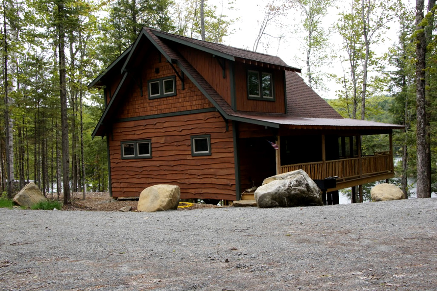 Log cabin with private dock near lake george for Camps and cottages