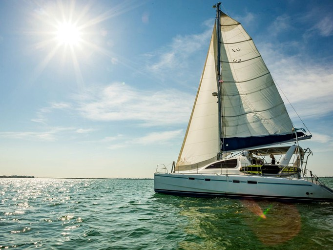Luxury Catamaran Sailboat Charter With Crew Moored In Key West Florida