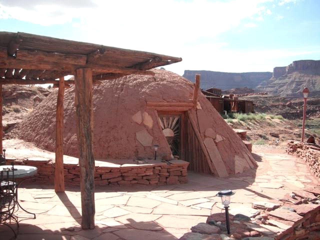Rustic Navajo Hogan Rental for Five at Adventure Camp in Moab, Utah