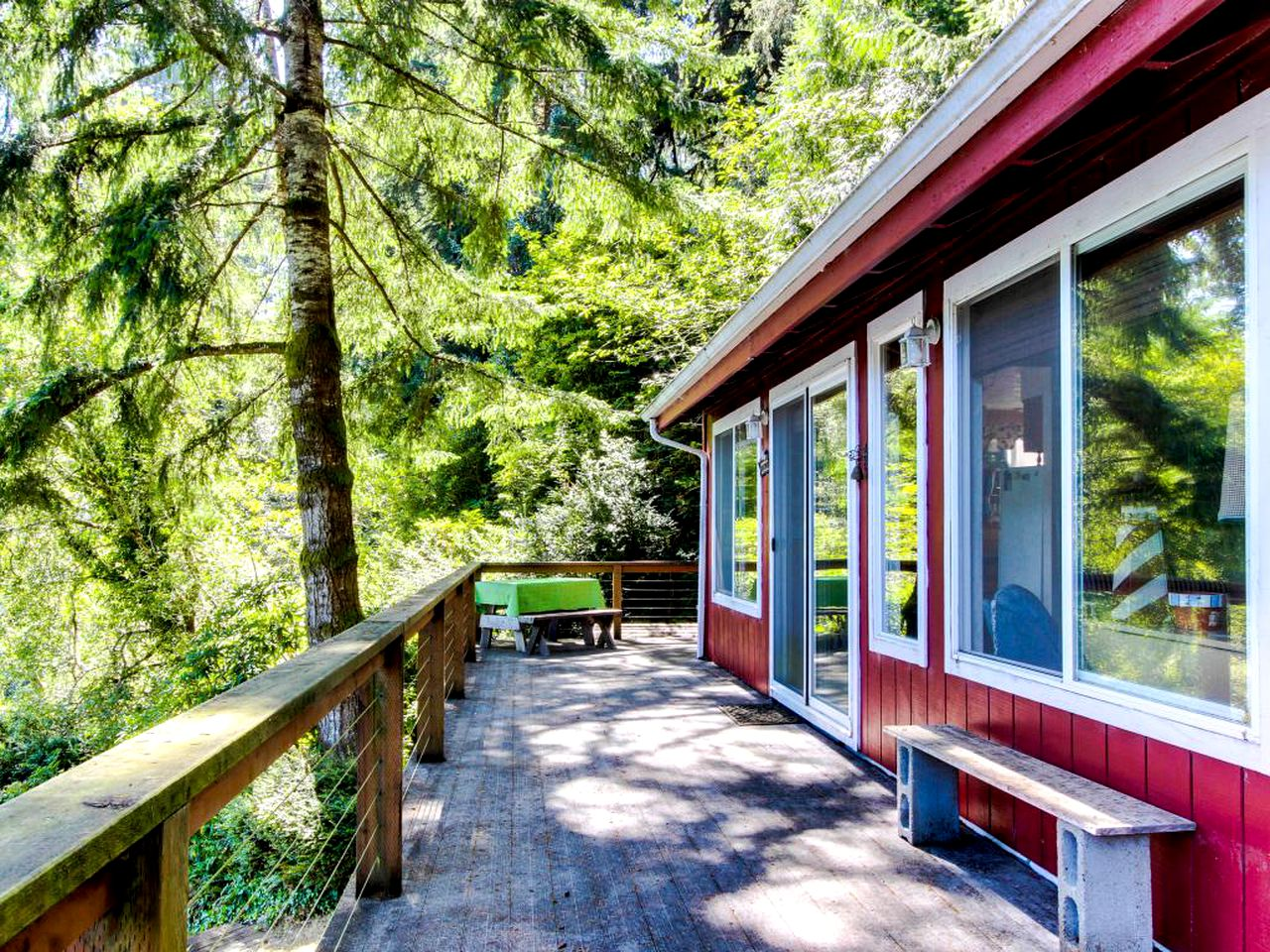 Elevated deck of a dog-friendly vacation rental: Florence, OR rental near Heceta Beach.