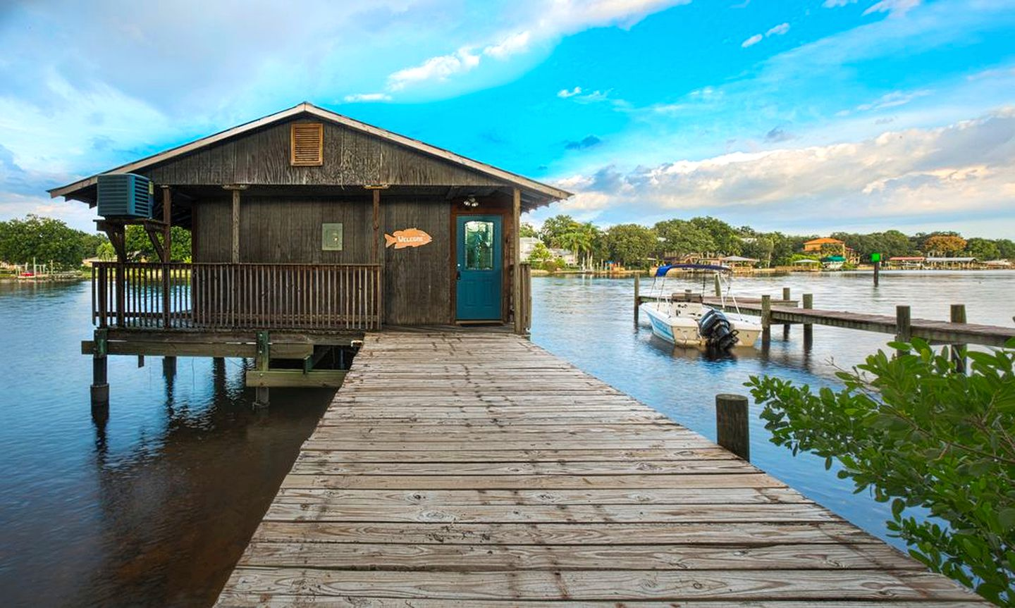 Elevated cabin rental over the water on a river for a family Tampa vacation in Florida.