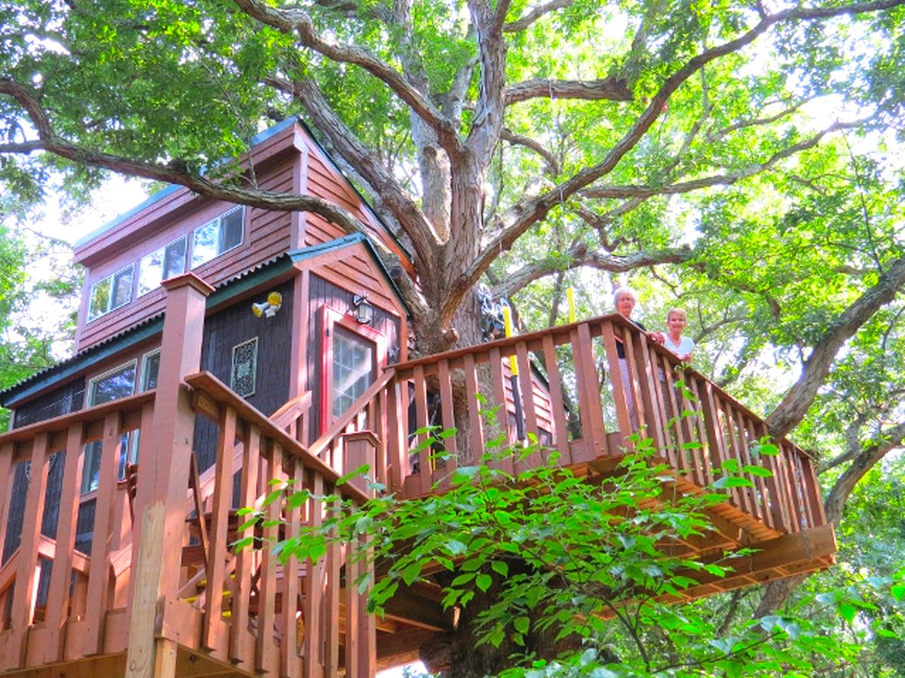 Exterior of the best tree house hotel Illinois has to offer