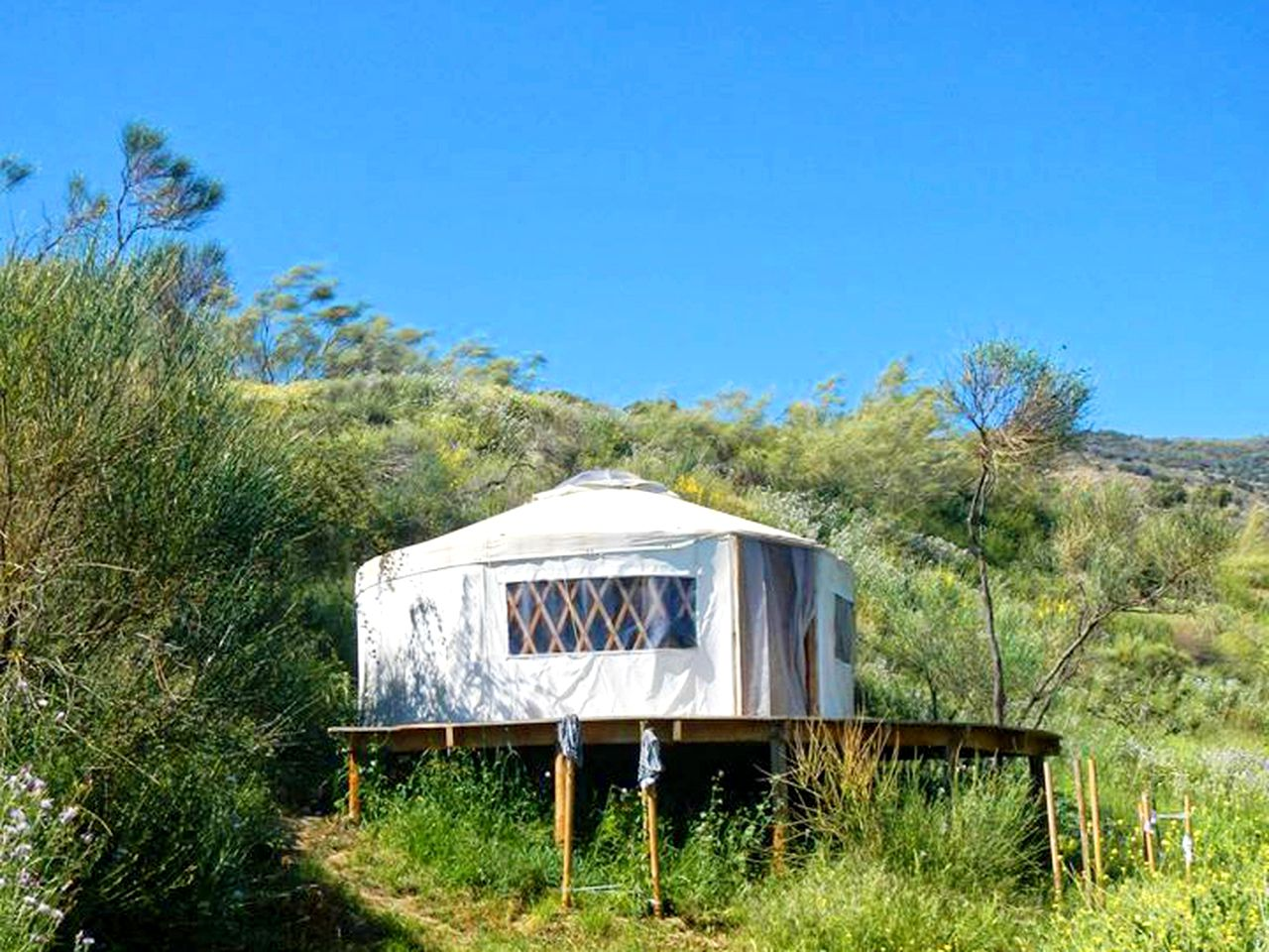 Yurt on a hill in the Sierra Nevada of Spain.