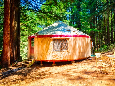 Stylish Vacation Yurt Rental Nestled Among Redwoods in Northern California