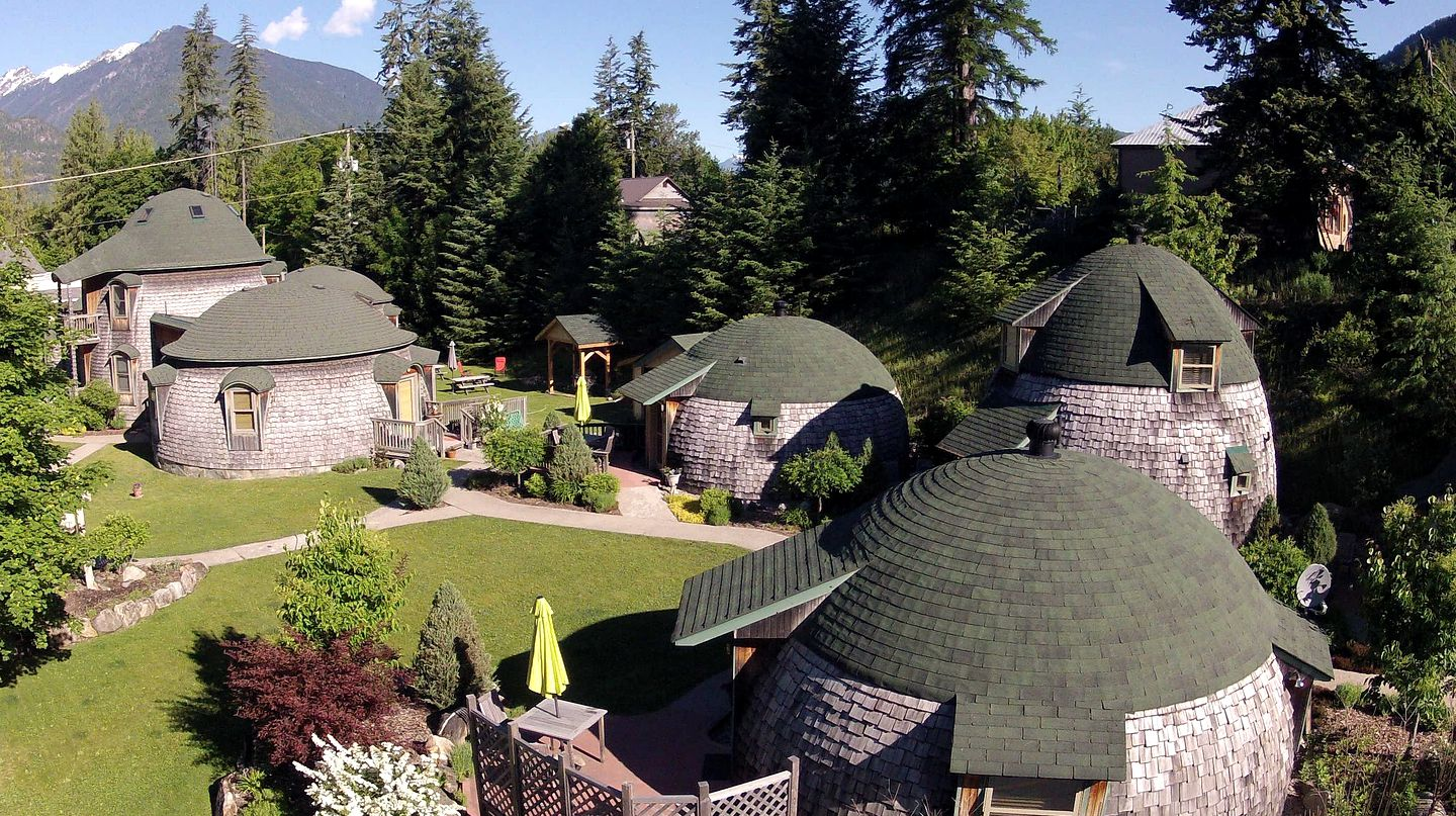 Glamping resort with multiple dome rentals in New Denver, British Columbia.
