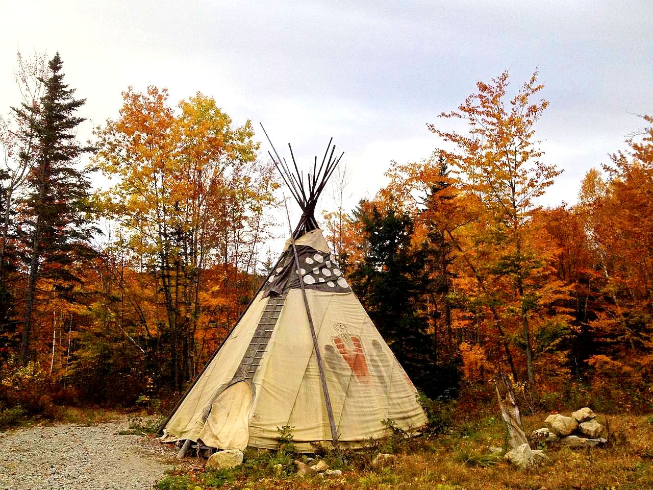 White Mountain National Forest camping tipi for rent in NH