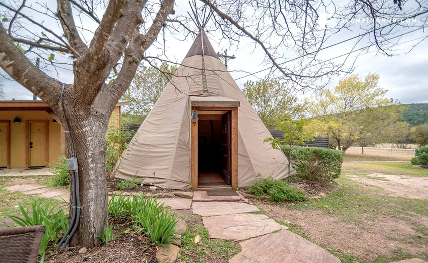 Modern tipi rent in New Braunfels, Texas