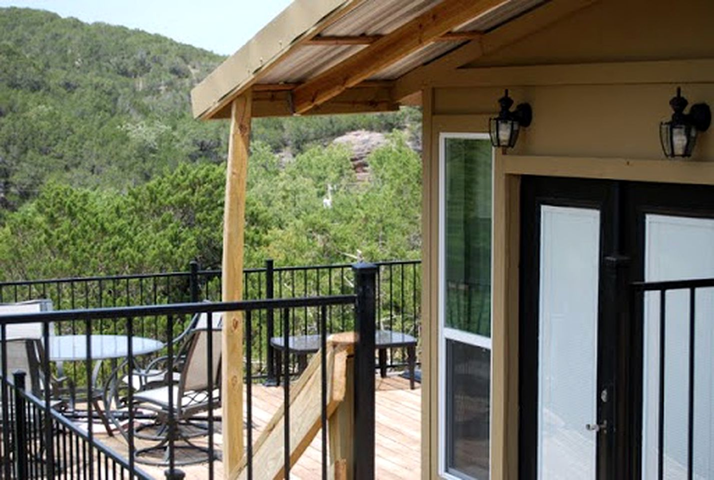 The rental comes with views near Turner Falls. Cabins here are ideal for glamping in Oklahoma
