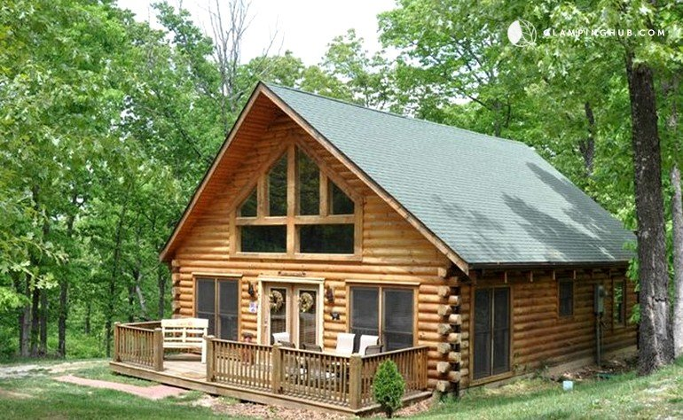 Glamping cabin ozarks for Two story log cabin