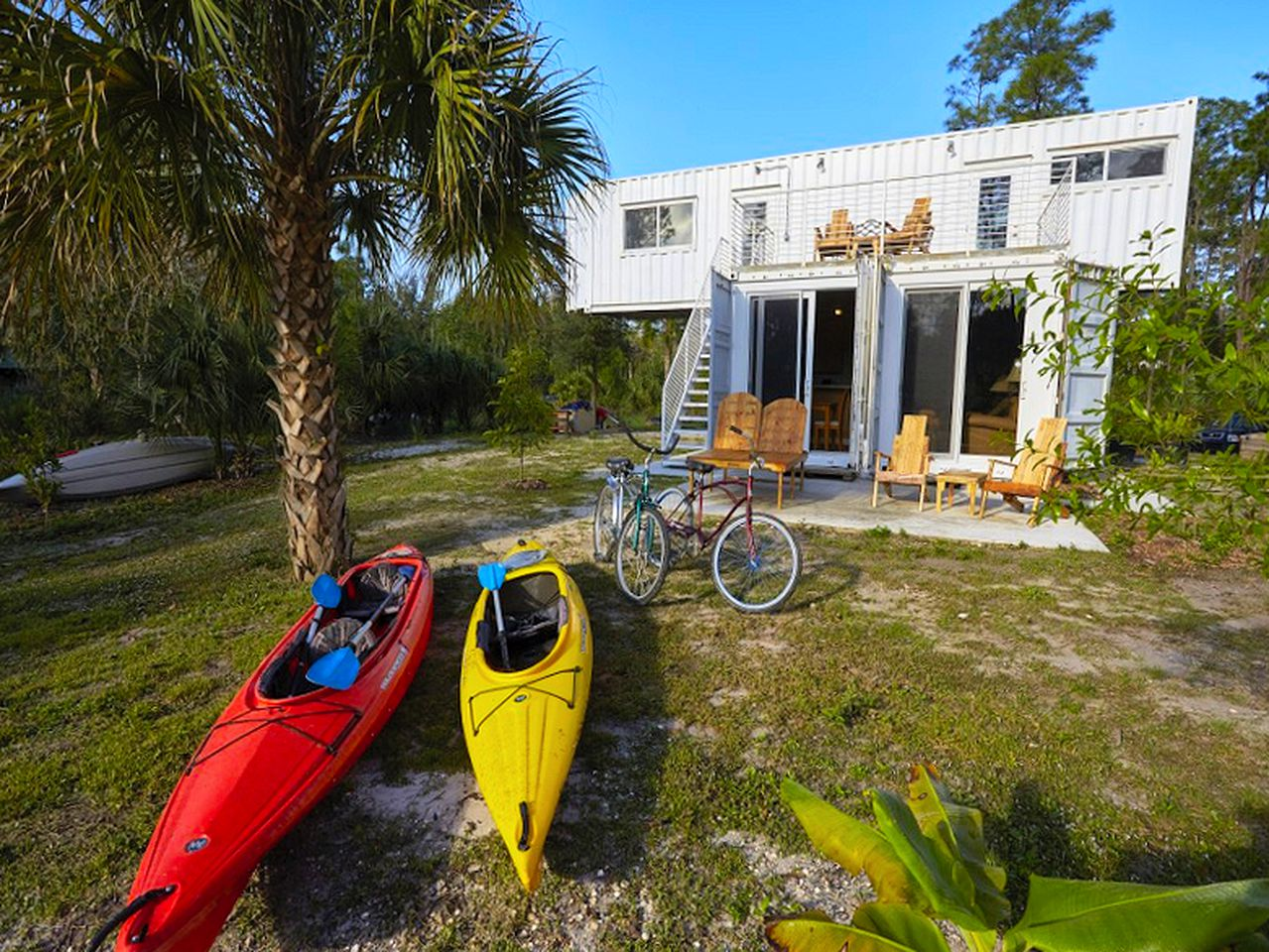 Upcycled shipping containers transformed into a glamping Florida home rental