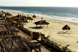 Beach Bungalows Under Palm Trees on the Beautiful Peruvian Coast